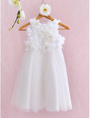 Ball Gown Knee Length Flower Girl Dress - Tulle Sleeveless Jewel Neck with Flower by LAN TING BRIDE®