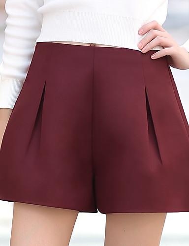 Mulheres Calças Simples Shorts Poliéster Sem Elasticidade Mulheres