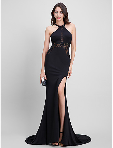 6cc46fd73b6 Mermaid   Trumpet Jewel Neck Sweep   Brush Train Jersey Formal Evening Dress  with Lace by TS Couture®