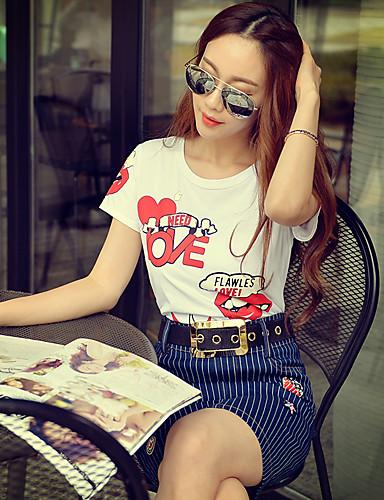 Pink Doll® Dame Rund hals Kort Erme T skjorte Ivory-X15BTS096