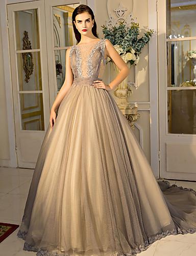 Vestido de baile jóia com pescoço tribunal trem laço vestido de noite de tule com cristal