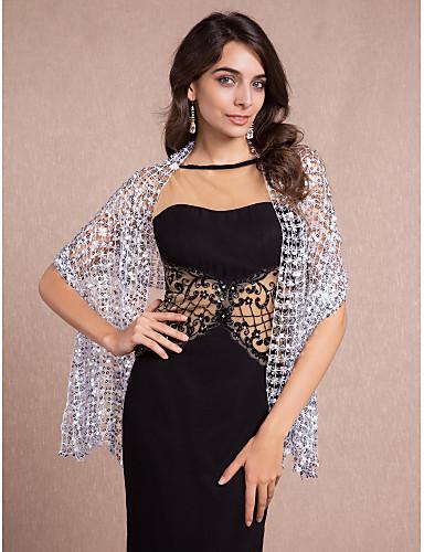 ราคาถูก ผ้าคลุมสำหรับชุดแต่งงาน-เสื้อไม่มีแขน ฝ้าย Party / Evening ห่อแต่งงาน / ผ้าคลุมไหล่ กับ เลื่อม ผ้าคลุมไหล่