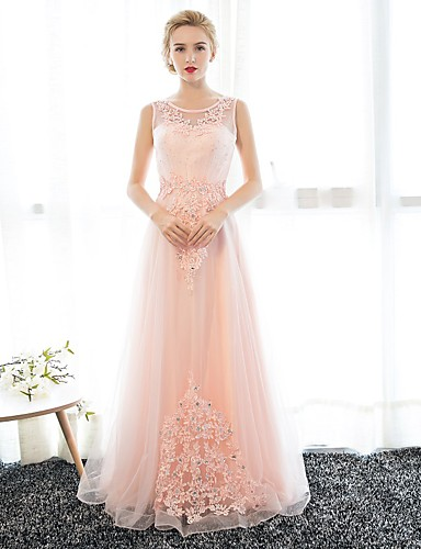 Sheath / Column Illusion Neckline Floor Length Satin Tulle Prom Formal Evening Dress with Appliques Crystal Detailing by Embroidered