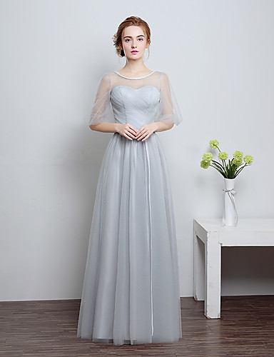 Ball gown sweetheart floor length pitsinen tulle morsiusneito mekko keula (t) pitsiä
