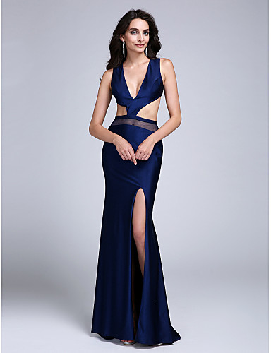 Tubinho Decote mergulhador Cauda Escova Microfibra Jersey Com Corte Evento Formal Vestido com Fenda Frontal de TS Couture®