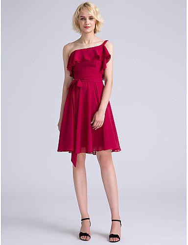A-라인 원 숄더 무릎 길이 쉬폰 신부 들러리 드레스 와 리본 으로 LAN TING BRIDE®
