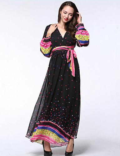 קיץ פוליאסטר שרוול ארוך מקסי V עמוק מנוקד בוהו חוף מידות גדולות שמלה שיפון נשים,גיזרה גבוהה מיקרו-אלסטי