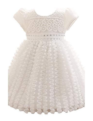 תִינוֹק שמלה פוליאסטר קיץ שרוול קצר Party אחיד הילדה של פפיון לבוש מהודר לבן