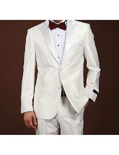 Branco Sólido Fino Lã Terno - Notch / Paletó Comum 2 Botões / Suits
