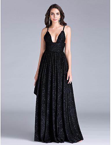 Eng anliegend Tiefer Ausschnitt Boden-Länge Polyester Abiball / Formeller Abend Kleid mit Schärpe / Band Rüschen durch TS Couture®