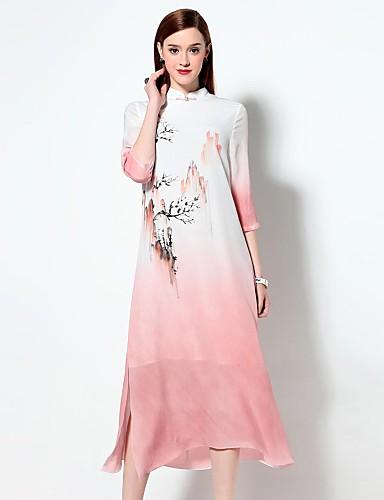 Feminino Solto Vestido,Para Noite Sofisticado Estampado Colarinho Chinês Médio Raiom Primavera Verão Cintura Média Sem Elasticidade