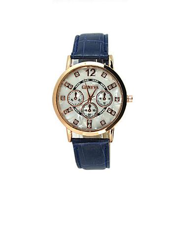 Mulheres Relógio de Moda Relógio Casual PU Banda Preta / Branco / Azul