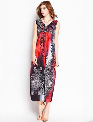 c0ed1a411a2e Women's Plus Size Boho Maxi Swing Dress - Leopard Pleated / Print Deep V  Summer Red Yellow Light Blue XXXXL XXXXXL XXXXXXL