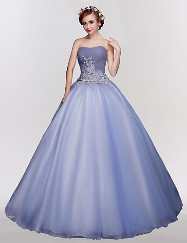 Ballkleid Trägerlos Boden-Länge Tüll Formeller Abend Kleid mit Kristall Verzierung Stickerei Spitze durch SG