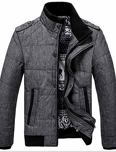 コート レギュラー パッド入り メンズ,日常 ワーク ソリッド コットン コットン-カジュアル 長袖