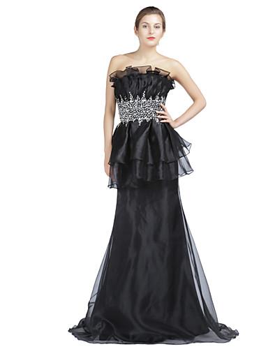 Sereia Sem Alças Cauda Escova Organza Evento Formal Vestido com Miçangas Detalhes em Cristal Pregueado de TS Couture®