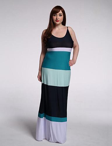 vacances / taille plus boho robe de swing doux courbe femmes, rayé sangle maxi manches multi-couleur polyester été