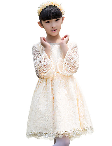 Trapèze Mi-long Robe de Demoiselle d'Honneur Fille - Dentelle Bijoux avec Dentelle