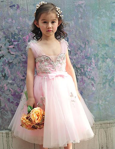 Ballkleid Knie-Länge Blumenmädchenkleid - Tüll Charmeuse Ärmellos Quadratischer Ausschnitt mit Perlenstickerei Schleife(n) durch