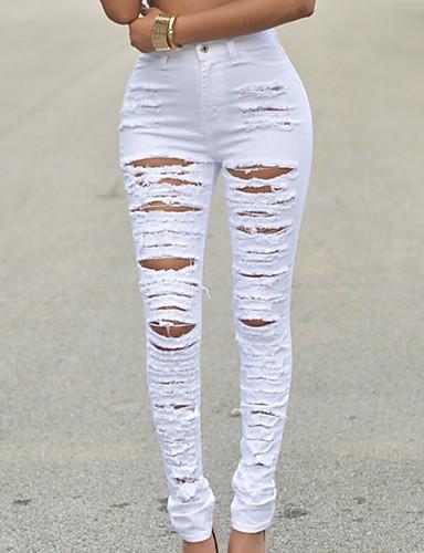 Damen Street Schick Hohe Hüfthöhe Mikro-elastisch Jeans Hose einfarbig