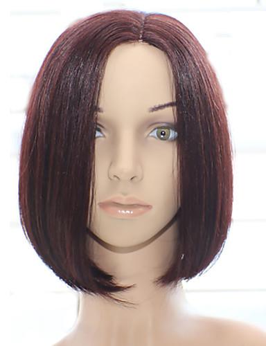 billige Blondeparykker med menneskehår-Ekte hår Maskinprodusert Parykk Bobfrisyre stil Brasiliansk hår Rett Parykk 130% Hair Tetthet med baby hår Naturlig hårlinje Afroamerikansk parykk 100 % håndknyttet Dame Medium Lengde Blondeparykker