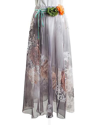 Maxi Skjørt Vintage / Gatemote Polyester Mikroelastisk Kvinner