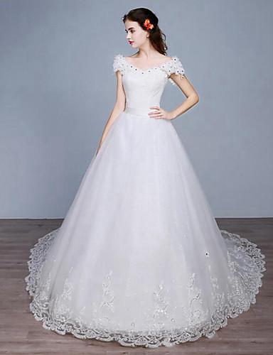 Prinzessin Kathedralen Schleppe Spitze Tüll Hochzeitskleid mit Spitze durch