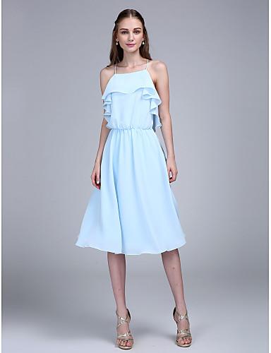 גזרת A רצועות ספגטי באורך  הברך שיפון מסיבת קוקטייל / סיום לימודים / נשף רקודים שמלה עם קפלים על ידי TS Couture®