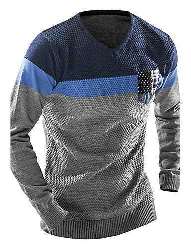 Herre Sport Ull Langermet Pullover - Fargeblokk