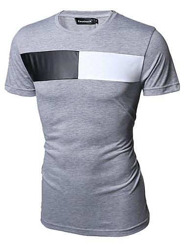 Fritid Ensfarvet Mænds Kortærmet T-shirt Bomuld-Hvid / Grå