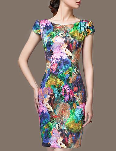 Mujer Tallas Grandes Noche Sofisticado Seda Delgado Vaina Vestido - Estampado, Floral Sobre la rodilla / Primavera / Verano / Otoño