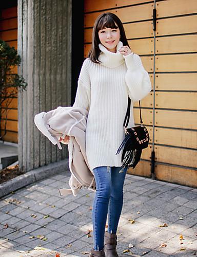 Feminino Longo Pulôver,Casual Simples Sólido Branco Gola Alta Manga Longa Acrílico Outono Inverno Média Micro-Elástica