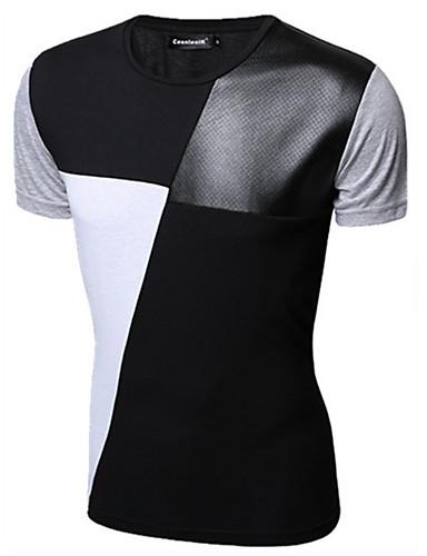 Homens Camiseta Sólido Algodão / Manga Curta