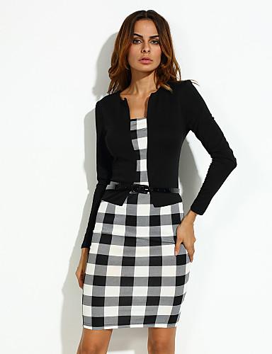 Kadın's Büyük Bedenler Çalışma Günlük Pamuklu Kılıf Elbise - Kareli Diz-boyu Siyah ve Beyaz