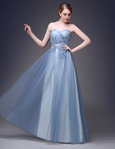 2017 formel aften kjole a-line kæreste gulvlange tyl med applikationsbroderi