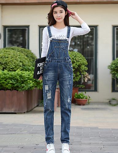 Dame Afslappet Mikroelastisk Jeans Overalls Bukser Bomuld Ensfarvet Alle årstider