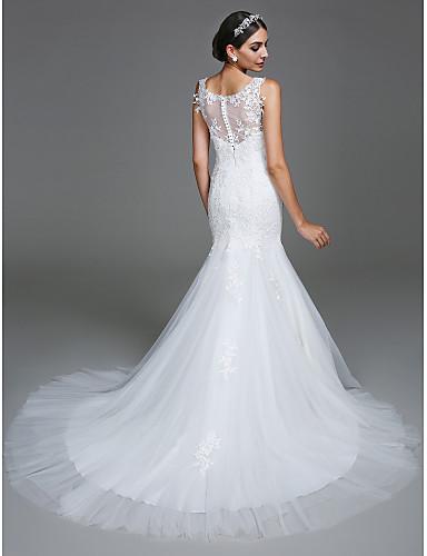 Sereia Scoop pescoço Cauda Corte Tule Vestidos de noiva personalizados com Apliques Botão de LAN TING BRIDE®