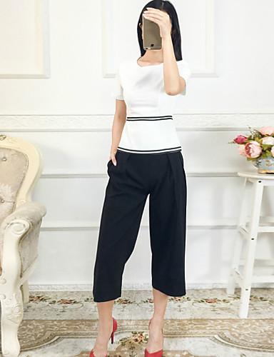 Dames Street chic Herfst Set Pantalon Suits,Casual/Dagelijks Gestreept Ronde hals Korte mouw Wit Katoen / Polyester Dun