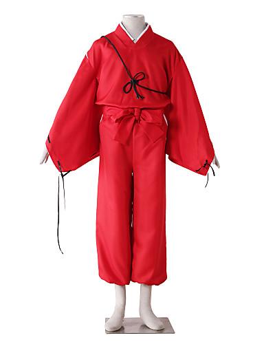 povoljno Anime kostimi-Inspirirana InuYasha Kiba Inuzuka Anime Cosplay nošnje Japanski Cosplay Suits Jednobojni Dugih rukava Hlače / Pojas / More Accessories Za Muškarci