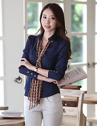abordables Hauts pour Femme-Chemise Grandes Tailles Femme, Couleur Pleine - Coton Simple Col de Chemise Noir / Printemps / Eté