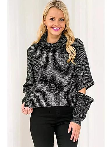 Damer Gade Afslappet/Hverdag Normal Pullover Ensfarvet,Rullekrave Langærmet Polyester Vinter Tynd Mikroelastisk