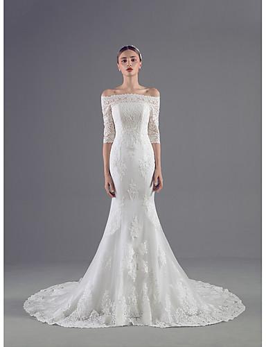 Sereia Vestido de Noiva Cauda Corte Ombro a Ombro Tule com Com Apliques