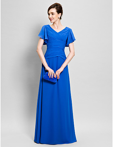 Sheath / Column V Neck Floor Length Chiffon Mother of the Bride Dress with Criss Cross by LAN TING BRIDE®