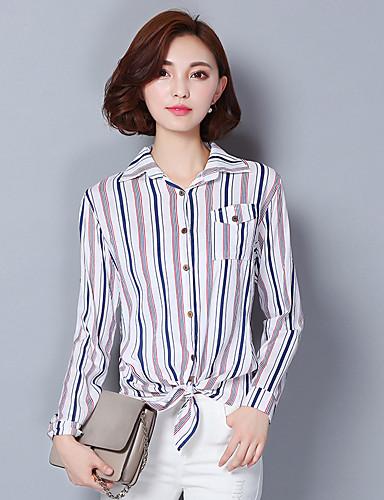 Mulheres Camisa Casual / Trabalho Simples Outono,Color Block Azul / Rosa / Vermelho Algodão / Linho Colarinho de Camisa Manga Longa Fina