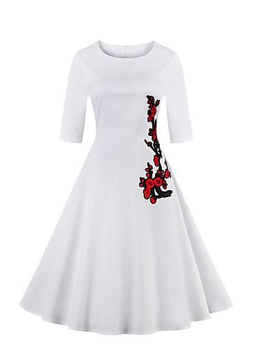 voordelige Sexy jurken-Dames Grote maten Uitgaan Vintage Katoen A-lijn Jurk - Bloemen Tot de knie