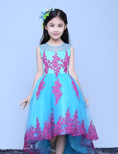 a-line asymmetrisk blomst pige kjole - tulle ærmerøs juvel hals med applique af lovelybees