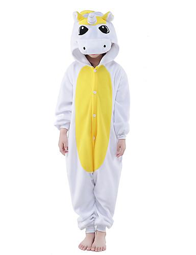 Crianças Pijamas Kigurumi Unicórnio Pijamas Macacão Ocasiões Especiais Lã Polar Amarelo / Azul Cosplay Para Pijamas Animais desenho animado Dia das Bruxas Festival / Celebração / Natal