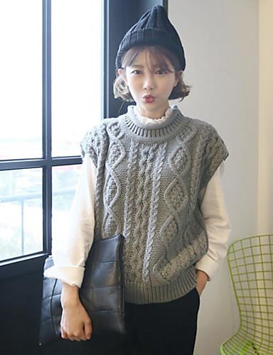 Damen Standard Weste-Ausgehen Einfach Solide Weiß / Grau Rundhalsausschnitt Ärmellos Baumwolle / Polyester Herbst Mittel