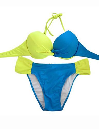 Nylon / SpandexBandeau-Bikini-Kleurenblok / Push Up-Vrouwen