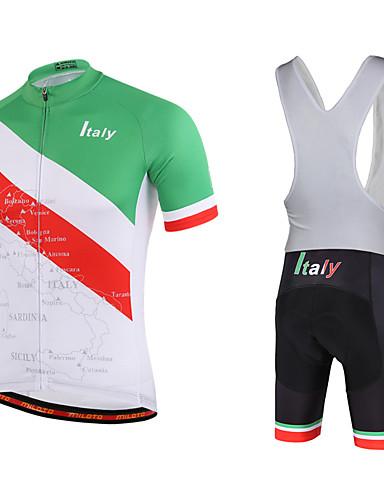 cheap Cycling Clothing-Miloto Men's Short Sleeve Cycling Jersey with Bib Shorts - Black Italy Bike Bib Shorts Jersey Bib Tights Breathable Quick Dry Sweat-wicking Sports Polyester Lycra Italy Mountain Bike MTB Road Bike